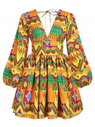 Surprising Zipper African Pattern Midi Dress Weekend Time