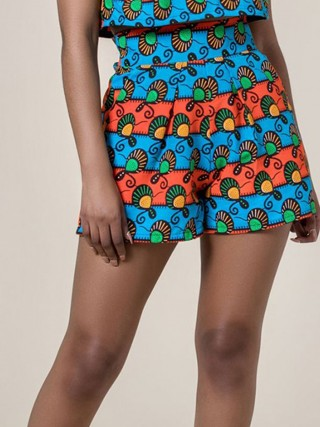 Likable African Printed Shorts High Waist Lady Clothing