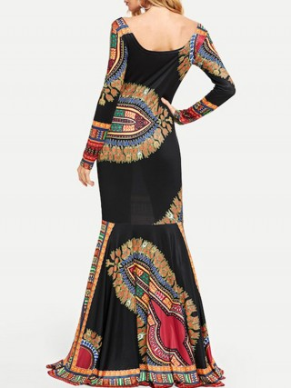 Endearing Bohemian Print Maxi Dress Square Neck Forward Women