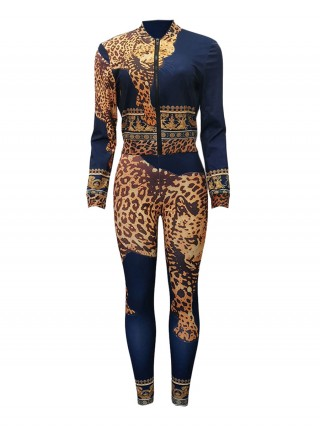 Loose Purplish Blue Long Sleeve Zip Top Suit Leopard Print Chic