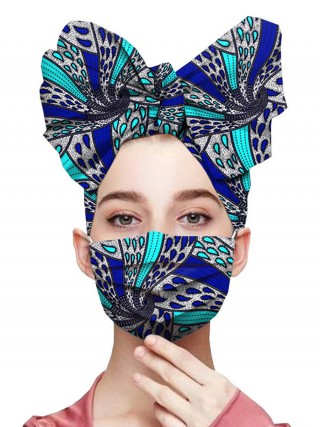 Young Girl Blue Ruched Headscarf African Pattern Cotton Mask Latest Styles