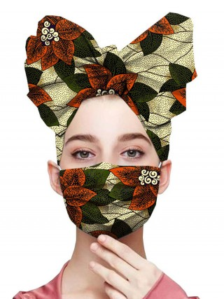 Conservative Light Green Flower Leaf Paint Headscarf Cotton Mask