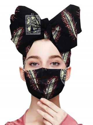 Picturesque Batik African Headscarf Dustproof Mask Women Outfit