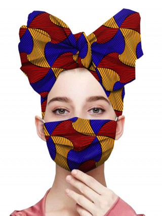 Homely Colorblock Wax Printing Headscarf And Mask For Girls