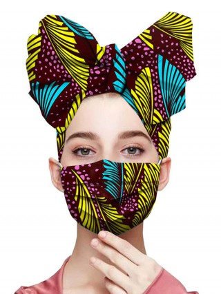 Appealing Irregular Edge Headscarf Batik Dyeing Mask Loose Fit