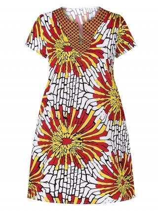Glaring Yellow Side Pockets Midi Dress Exotic Print All Over Smooth