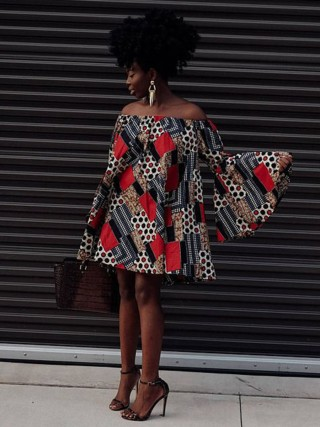 Classic Red African Print Long Sleeve Mini Dress Fashion Sale