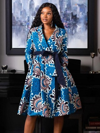 National Style Blue Skater Dress Turndown Collar African Paint For Women