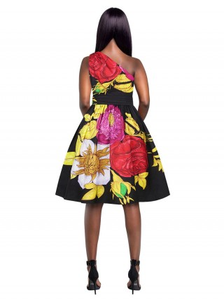 Picturesque Floral Print High Waist Skater Dress Fashion Clothing