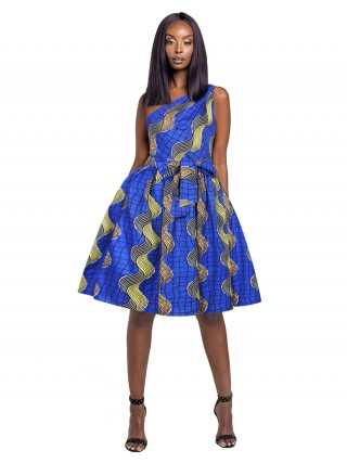 Special Midi Dress Fitted Waist African Pattern All-Match Fashion