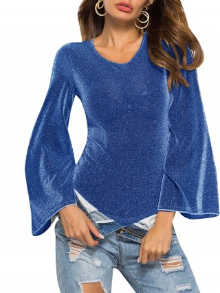 Awesome Royal Blue Bodysuit Glitter Solid Color Mesh All Over Smooth