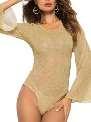 Delicate Sheer Mesh Bodysuit Full Sleeve Womens Designer Clothing