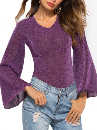 Impeccable Purple Bodysuit Bell Sleeve Solid Color Classic Clothing