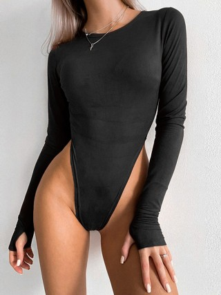 Black High Cut Long Sleeve Bodysuit Round Neck Weekend Fashion