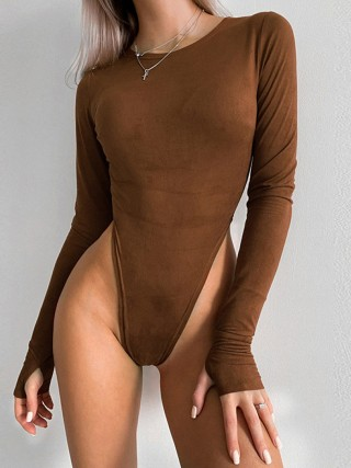 Coffee Full Sleeve High Cut Bodysuit Solid Color Comfort Women