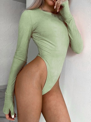 Green Crotch Button High Waist Plain Bodysuit Latest Styles