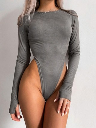 Gray High Waist Full Sleeve Thumbhole Bodysuit High Elasticity