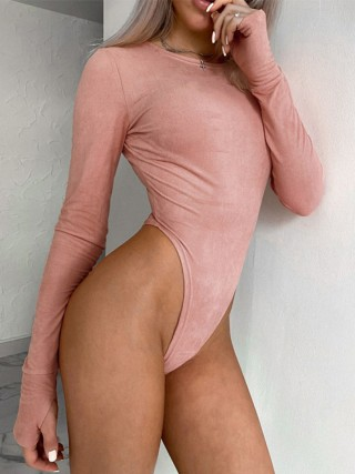 Pink Long Sleeve Button Bodysuit With Thumbhole Comfortable