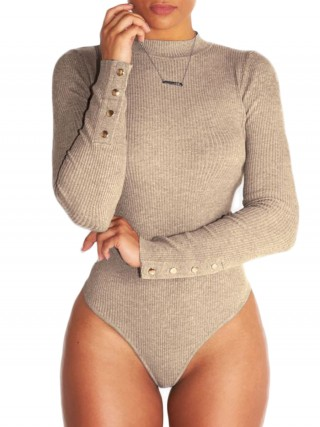 Fitness Khaki Bodysuit Long Sleeves Solid Color Lightweight