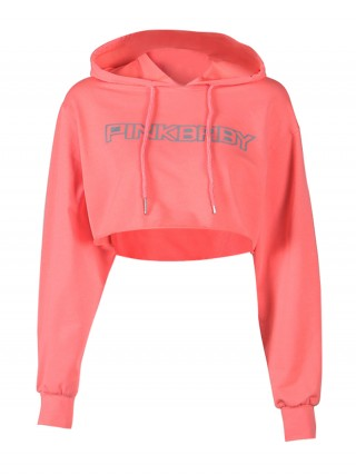 Nice Pink Long Sleeves Crop Sweatshirt Hooded Neck Feminine