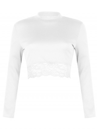 Natural White Screw Thread Crop Lace Patchwork Top Supper Fashion