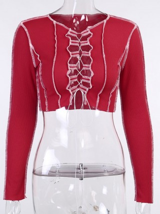 Red Cropped Shirt Crew Neck Hollow Out Female Clothing