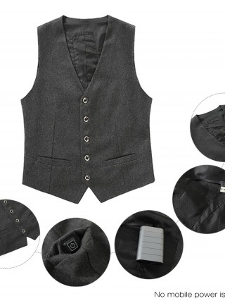 Simply Gray Men Suit USB Heated Vest With Button Trendy Clothes
