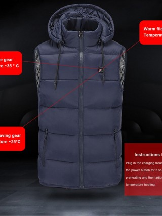 Blue Electric Heating Hooded Vest Winter Warm At Great Prices‎