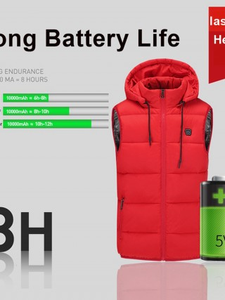 Red Electric USB Heating Hooded Warm Vest Womens Clothes