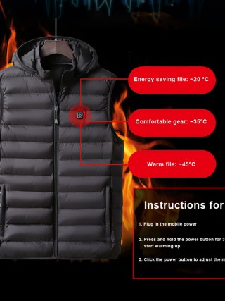 Black Zipper Warm Electric Heating Hooded Vest At Great Prices‎