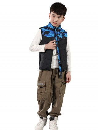 Children Smart Heating Cotton Vest Blue Pockets Lightweight