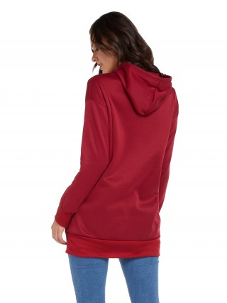 Young Lady Wine Red Long Sleeve Pocket Knit Sweatshirt Ladies