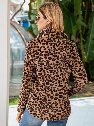 Amazing Brown Full Sleeves Zipper Sweatshirt Leopard High Quality
