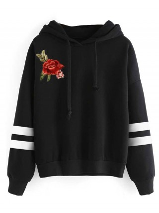 Comfortable Black Sweatshirt Embroidery Long Sleeve For Streetshots