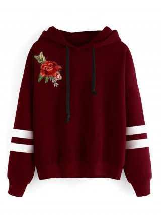 Spring Wine Red Full Sleeve Sweatshirt Flower Paint Comfort Fit