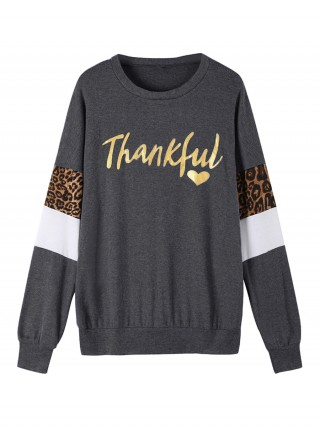 Exotic Paradise Dark Gray Sweatshirt Crew Neck Leopard Print Fashion Design