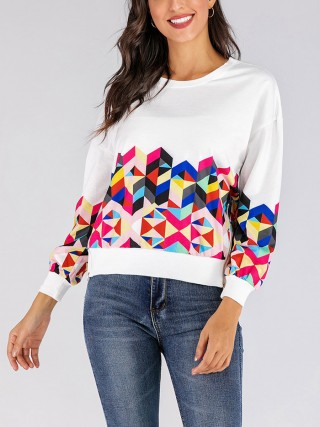 Soft-Touch White Geometric Print Sweatshirt Zipper Slit Women Fashion