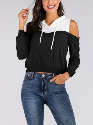 Daring Black Drawstring Sweatshirt Full Sleeve Newest Fashion