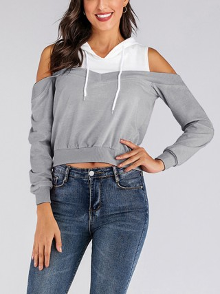 Contemporary Gray Long Sleeve Patchwork Sweatshirt Rib Lady Clothing