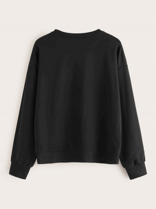 Cheeky Black Round Collar Sweatshirt Head Paint Pullover
