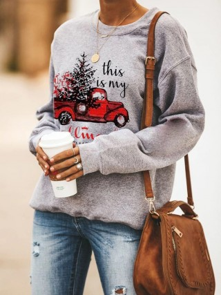 Fashionable Sweatshirt Crew Neck Tree Pattern Lady Fashion