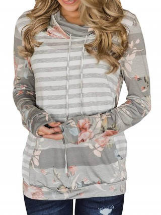 Snug Fit Dark Gray Sweatshirt Flower Paint High Collar Capture Elegance