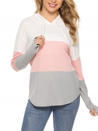 Modest Pink Sweatshirt Thumbhole Curved Hem Full Sleeve Luscious Curvy