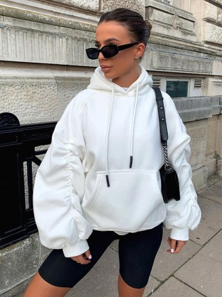 White Hoodie Solid Color Full Sleeve Pocket Fashion Insider