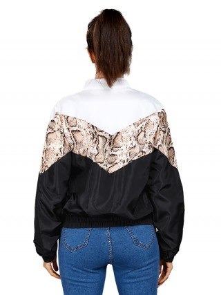 Black Patchwork Zipper Jacket With Pockets Understated Design