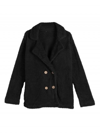 Shop Black Coat Turndown Collar Long Sleeve Natural Women