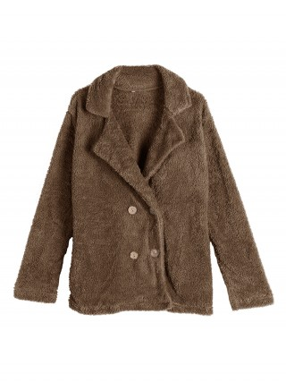 Alluring Brown Solid Color Plush Coat Button Online