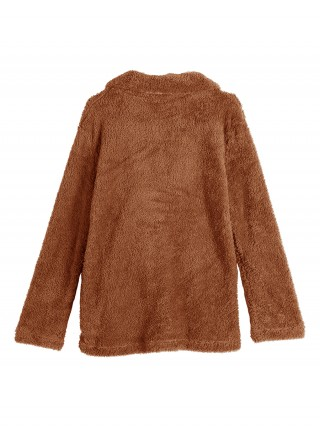 Woman Brown Turndown Collar Long Sleeve Coat Soft