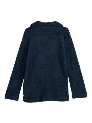 Vogue Dark Blue Large Size Coat Double Breasted Feminine Fashion