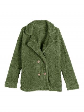 Enthralling Green Solid Color Plus Size Padded Coat Fashion Tee